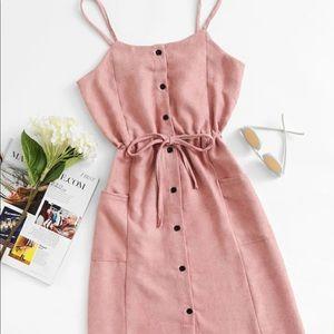Single Breasted Drawstring Waist Pocket Side Dress